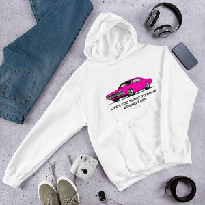 LIFE'S TOO SHORT Amazing Mad Charlie's Pink Charger White UNISEX Hoody - madcharliestore
