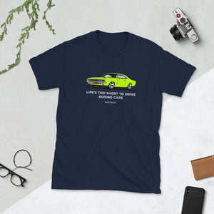 LIFE'S TOO SHORT Amazing Mad Charlie's Short-Sleeve Dark Colors Lime Charger UNISEX T-Shirt - madcharliestore
