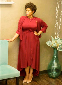 Burgundy Beauty High-Low Dress w/ Cardigan