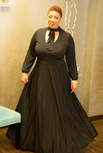 Midnight Black Pleated Maxi Dress w/ Neck tie