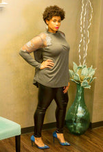 Charcoal Turtleneck Top