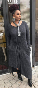 Heather Gray Asymmetrical Dress w/ Pockets & Thumb Holes