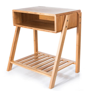 SMAGREHO Bamboo Bedside End Table,Nightstand with Open Storage and Shelf