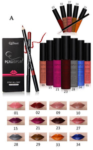 Qibest Makeup Set 12 Colors Lip Gloss + 12 Colors Pencil + 12 Lip Brush Matte Blright Colorful
