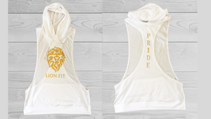 Lion.Fit Cut Off Men's Hoodie - WHITE