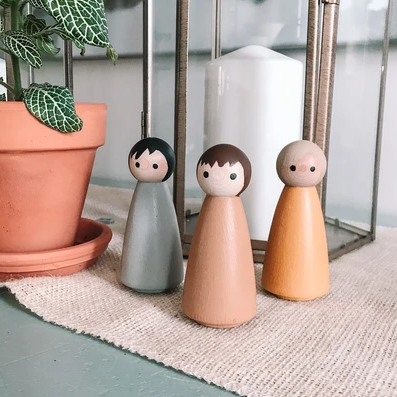 Simple Boy Wooden Hand Painted Peg Doll Set