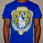 """Hand Down"" T-shirt (Blue w/ Gold logo)"
