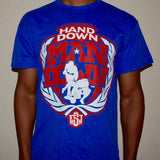 """Hand Down"" T-shirt (Blue w/ Red logo)"