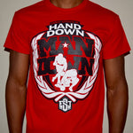 """Hand Down"" T-shirt (Red w/ Black logo)"