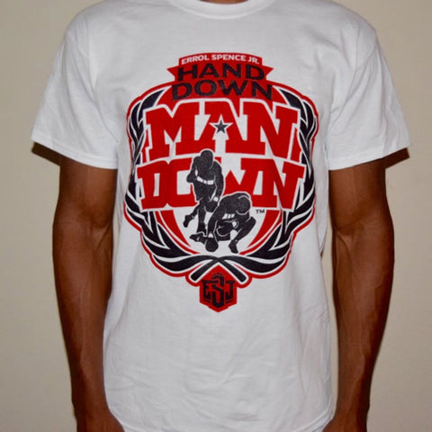 """Hand Down"" T-shirt (White w/ Black logo)"