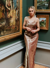 Load image into Gallery viewer, Rebecca Free Form Bronze Gold-Tone Satin Dress