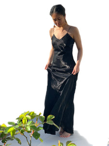 Lydia Free Form Black Satin Dress