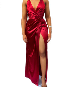 Beenouch Red Satin Twist Front Wrap Dress