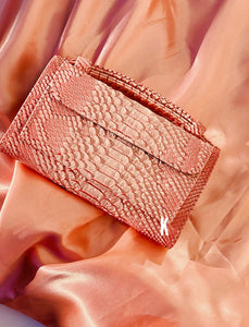 (Pre-order) Salmon Embossed Vegan Leather Double-Purse Crossbody Bag