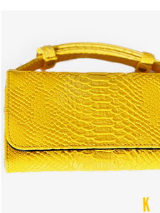(Pre-order) Yellow Embossed Vegan Leather Double-Purse Crossbody Bag