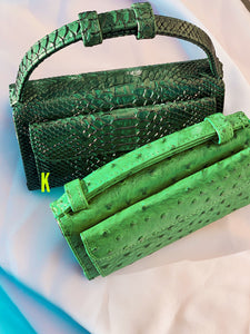 Ostrich Green Embossed Vegan Leather Double-Purse Crossbody Bag
