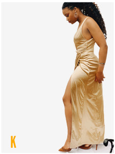 Owusu Gold Satin Twist Front Wrap Dress Gown