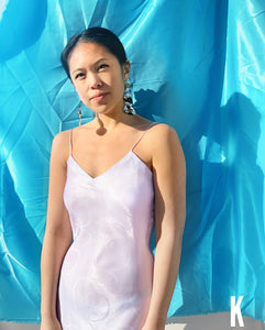 Angie Free Form White Satin Dress