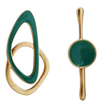 Load image into Gallery viewer, Mairhea Asymmetrical Gold Turquoise Green Toned Earrings (Lead/Nickel -Free)