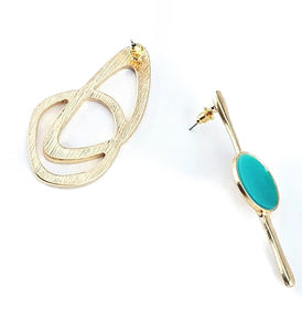 Mairhea Asymmetrical Gold Turquoise Green Toned Earrings (Lead/Nickel -Free)