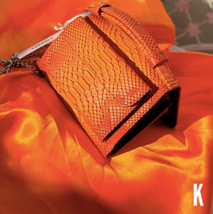 (Pre-order) Orange Embossed Vegan Leather Double-Purse Crossbody Bag