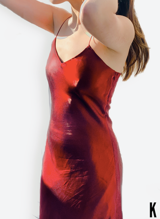 Sofia Free Form Red Silk-Satin Gown