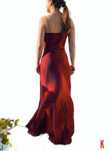 Load image into Gallery viewer, Sofia Free Form Red Silk-Satin Gown
