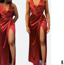 Load image into Gallery viewer, Beenouch Red Satin Twist Front Wrap Dress