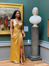 Load image into Gallery viewer, Owusu Gold Satin Twist Front Wrap Dress Gown