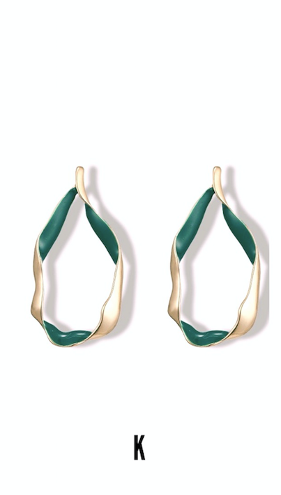 Amor Set Forest Green Twisted Hoops