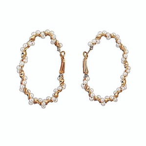 MAKEDA Pearl Gold Statement Earrings