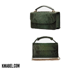 Load image into Gallery viewer, Macro Green (Pre-order)  Embossed Vegan Leather Double-Purse Cross Body Bag