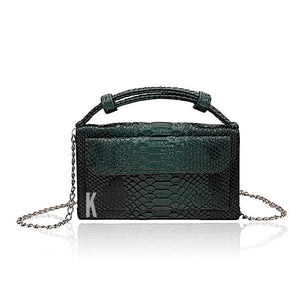 Forrest Green Embossed Vegan Leather Double-Purse Crossbody Bag