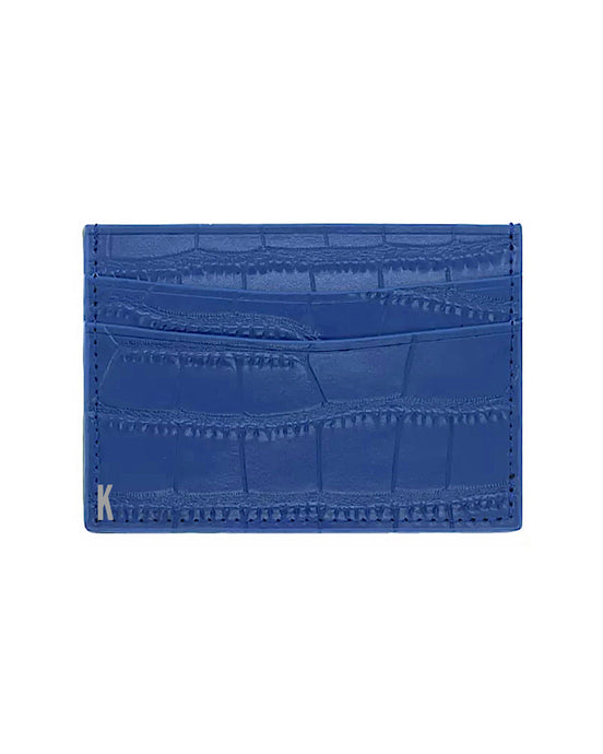 (Made-to-order) Blue Embossed Vegan Leather Card Case