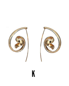 Amaru S925 Long Twisted Gold Earring Set