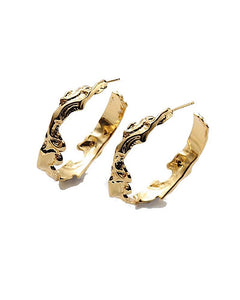 N'Mor Gold Round Shape Hoop Earrings