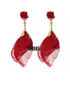 Siti Statement Red Rose Petal Earrings