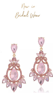 Petra  Pink Rhinestone Bridal/Occasion Earrings
