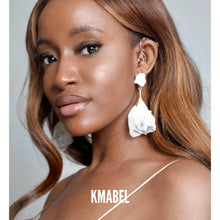 Load image into Gallery viewer, Toyosi Statement White Rose Petal Earrings