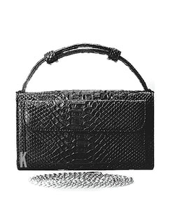 (Pre-order) Black Embossed Vegan Leather Double-Purse Crossbody Bag