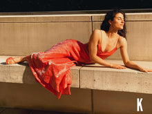 Load image into Gallery viewer, Carla Free Form Coral Pink Satin/Silk Dress