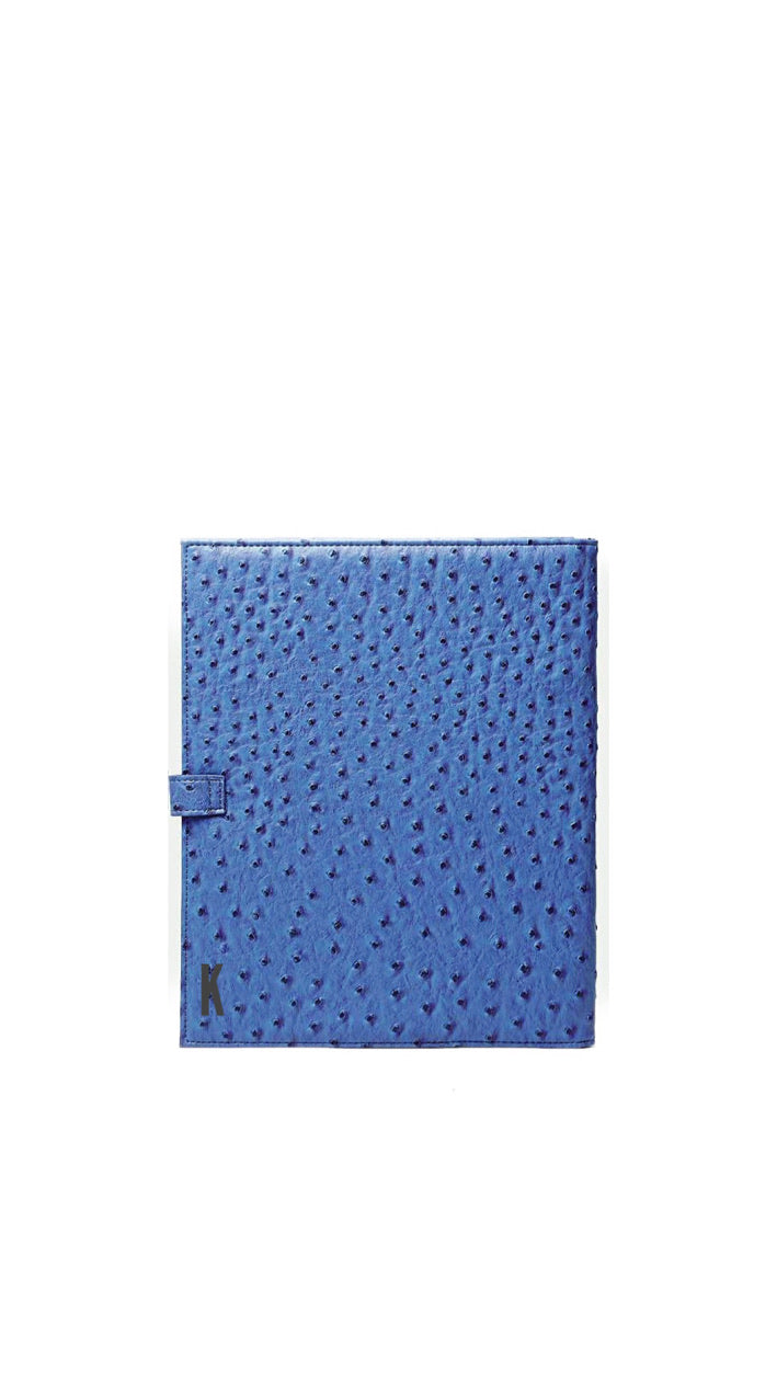 (Made-to-order) Blue Ostrich Vegan Leather Document Holder