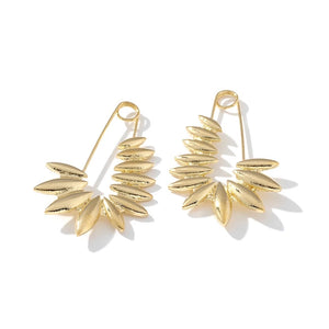 Nicole S925 Long Twisted Paperclip Gold Earring Set