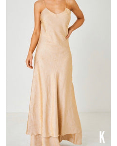Anya Free Form Champagne Golden Satin Dress