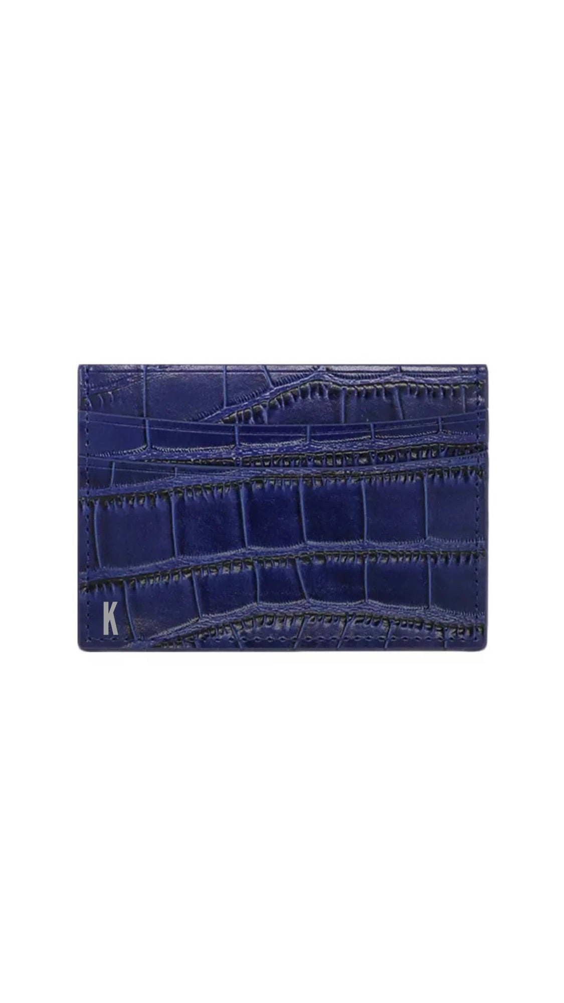 (Made-to-order) Navy Croc Embossed Vegan Leather Card Case
