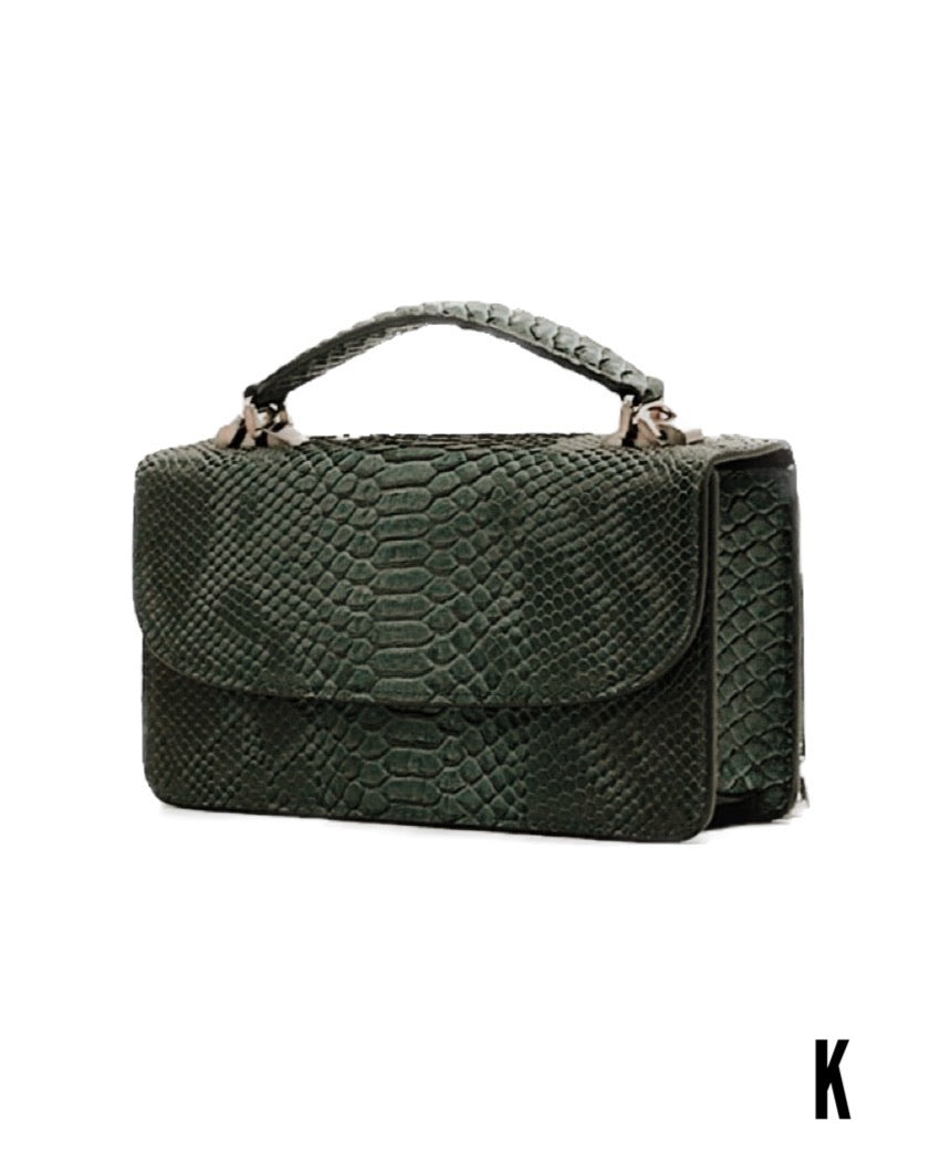 Macro Green (Pre-order)  Embossed Vegan Leather Double-Purse Cross Body Bag
