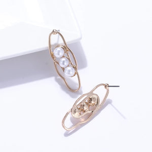 Aminata Pearl Gold Statement Earrings