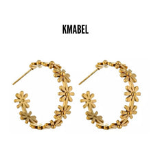Load image into Gallery viewer, Stacey Gold Plated Flower Stud Hoop Earrings