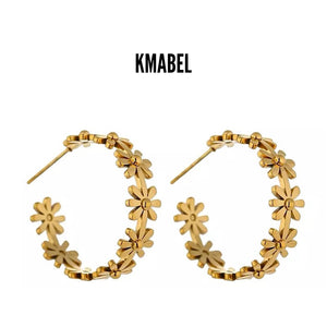 Stacey Gold Plated Flower Stud Hoop Earrings