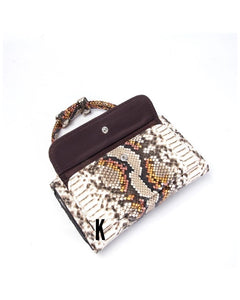 Python Yellow Embossed Vegan Leather Double-Purse Crossbody Bag